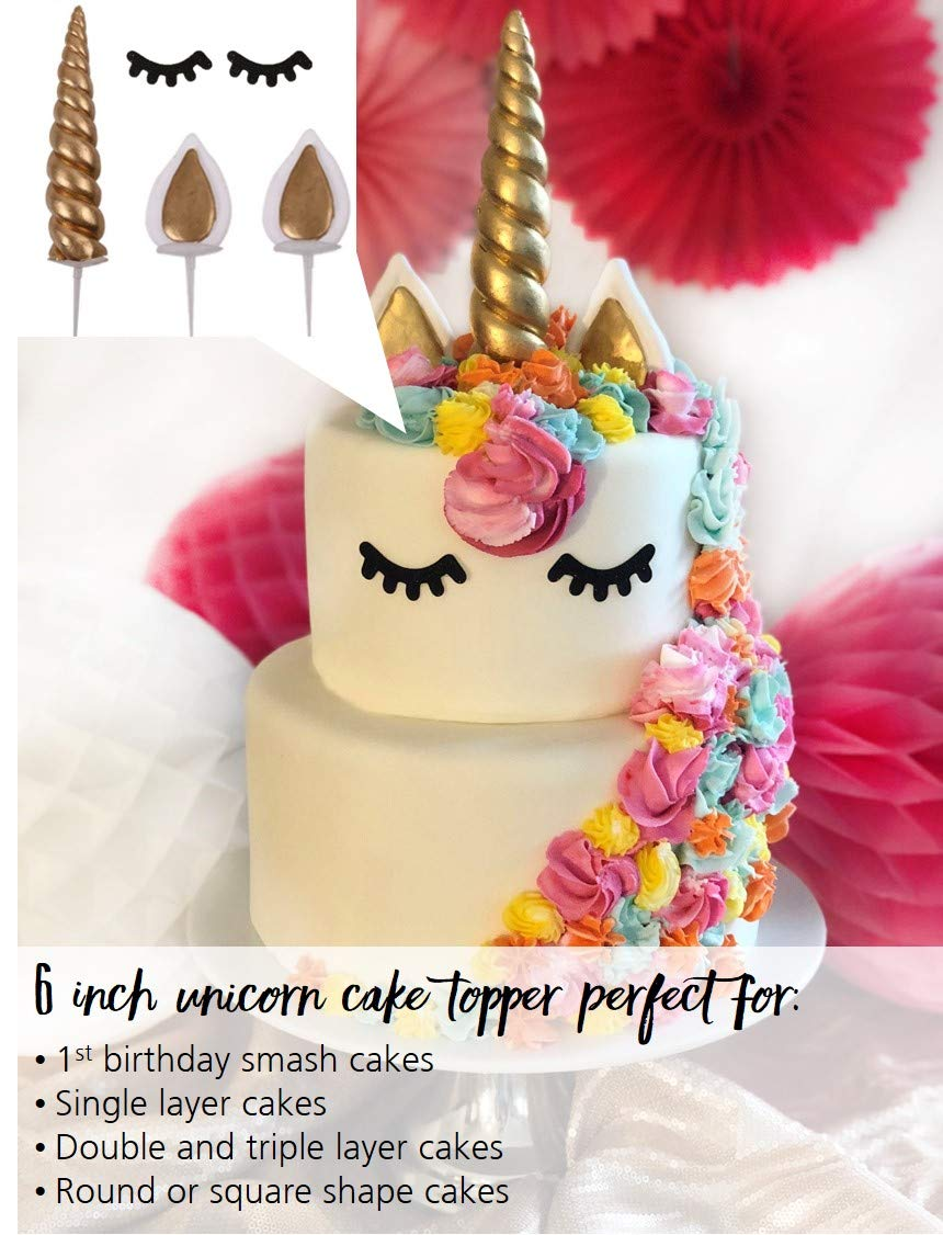 LIMITLESS Unicorn Cake Topper Handmade 5 Piece Set (Set Includes: 1 Horn, 2 Ears, and 2 Eyelashes). Unicorn party… 4