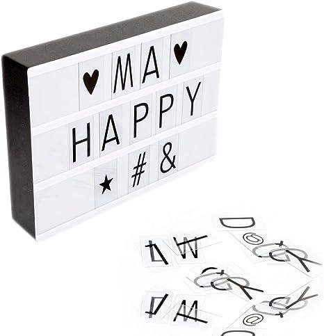 LED película ischen Caja de luz, King Coo A4 tamaño LED Cine ligero Caja con 180 letras (Números y Símbolos intercambiables), luz DIY Letras: Amazon.es: Bebé