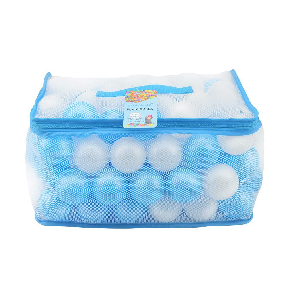 Lightaling 100pcs White & Blue Ocean Balls & Pit Balls Soft Plastic Phthalate & BPA Free Crush Proof - Reusable and Durable Storage Mesh Bag with Zipper