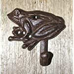 JTW- Heavy Cast iron Antique style Rust FROG Hook - For Towel ,Hat,oat Hook - PLANT GARDEN Rust brown finish