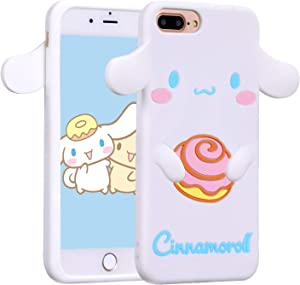 Allsky Case for iPhone 8 Plus/7 Plus/6 Plus,Cartoon Soft Silicone Cute 3D Fun Cool Cover,Kawaii Unique Funny Kids Girls Teens Animal Character Skin Shockproof Funny Cases for iPhone 6SPlus Cinnamoroll