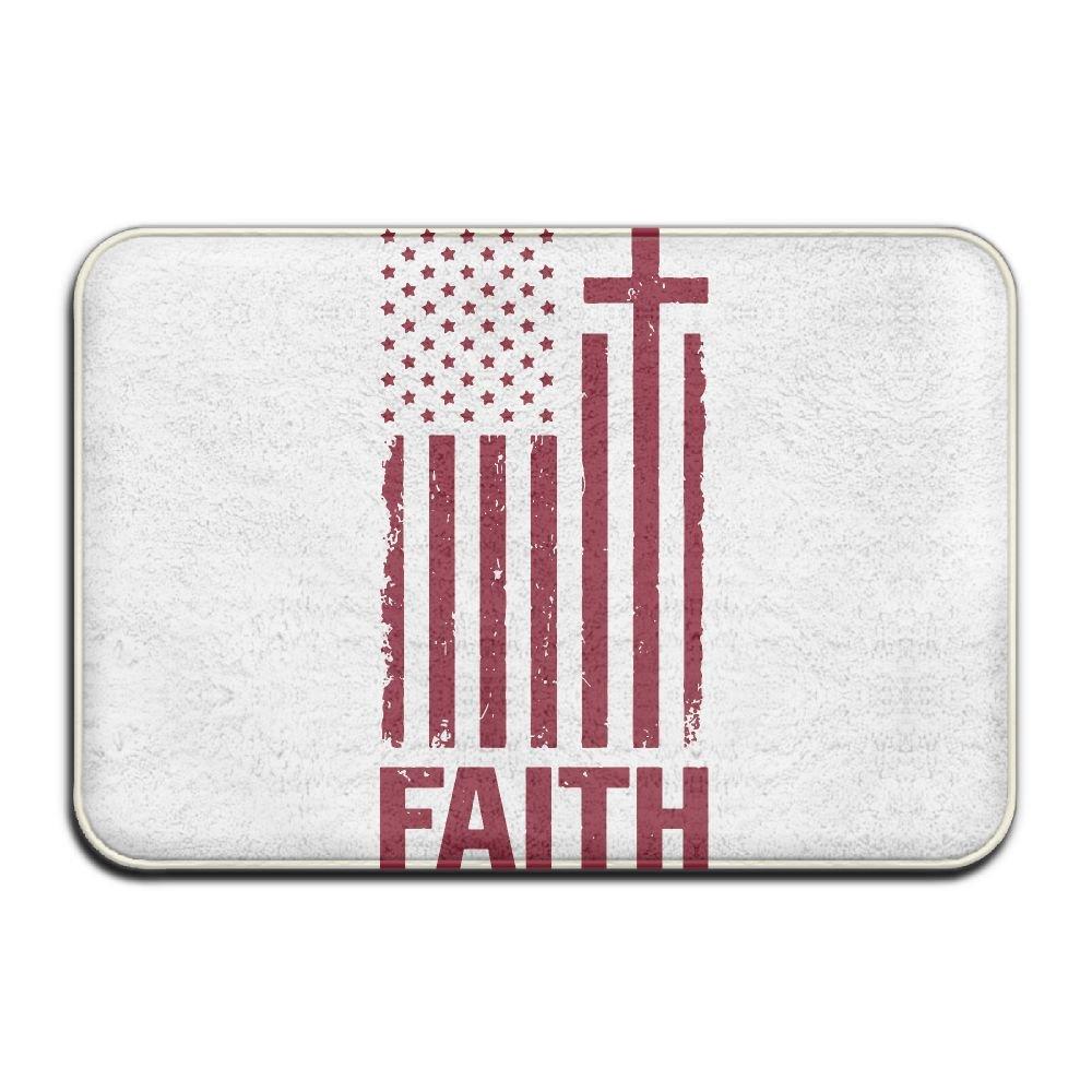 Christian Distressed White USA Flag Bath Rugs Wiper Floor Mat