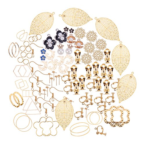 PandaHall Elite 1 Box Earring Making Sets 25 Styles with Earring Hook Clip-on Earring Ear Studs Pendant Charms Jump Ring for Jewelry Making -