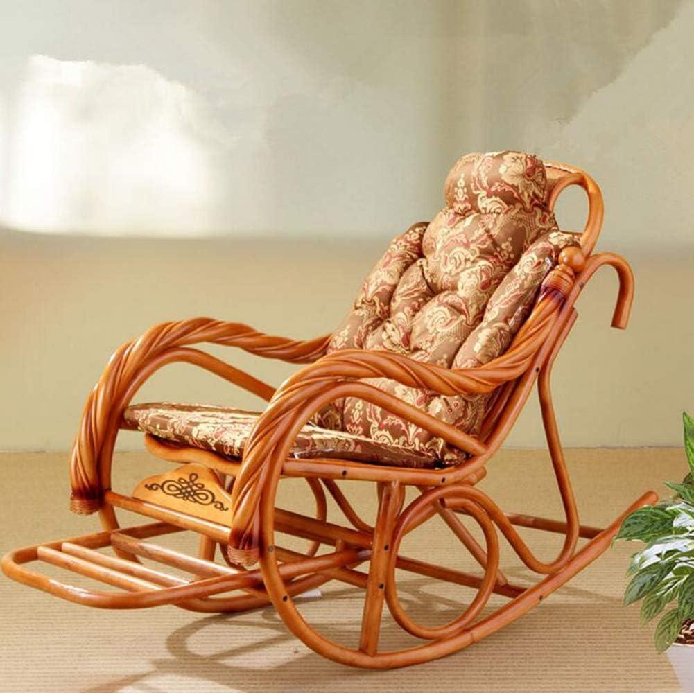 Boyishengshi Luxury Rocking Chair with Cushions Rattan Wicker Furniture Indoor Living Room Glider Recliner Modern Rattan Easy Chair,B