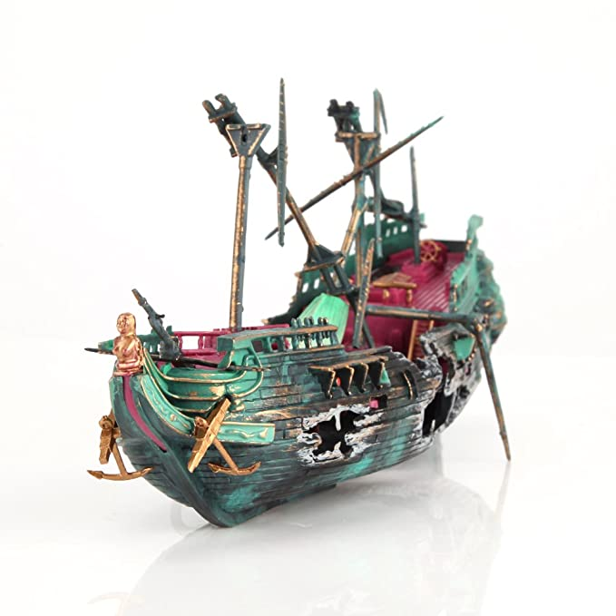 Amazon.com : WinnerEco Aquarium Ornament Ship Air Split Shipwreck Fish Tank Decor Sunk Wreck Boat : Pet Supplies
