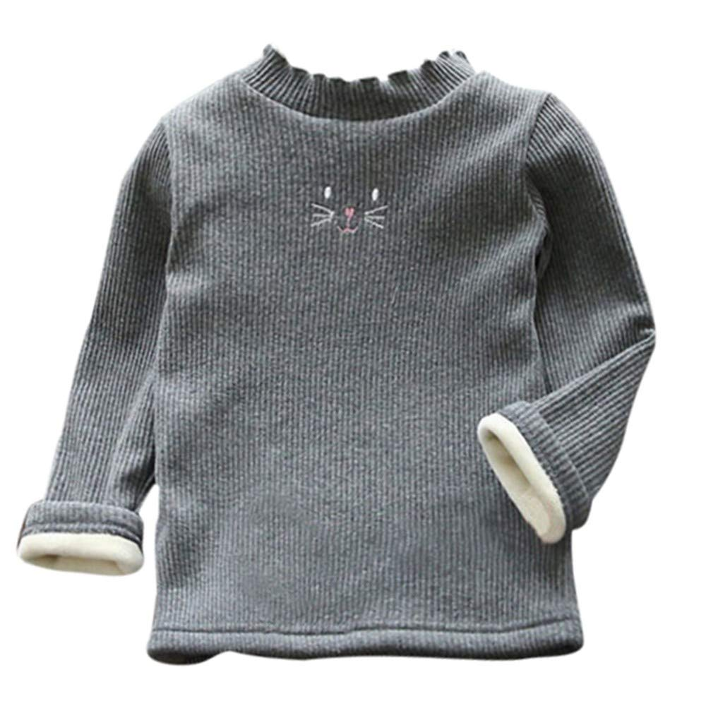 TM Infant Kids Little Girl Long Sleeve Cute Cat Ruched Thick Warm Backing Shirt Tops Tee for 1-5 Y Jchen