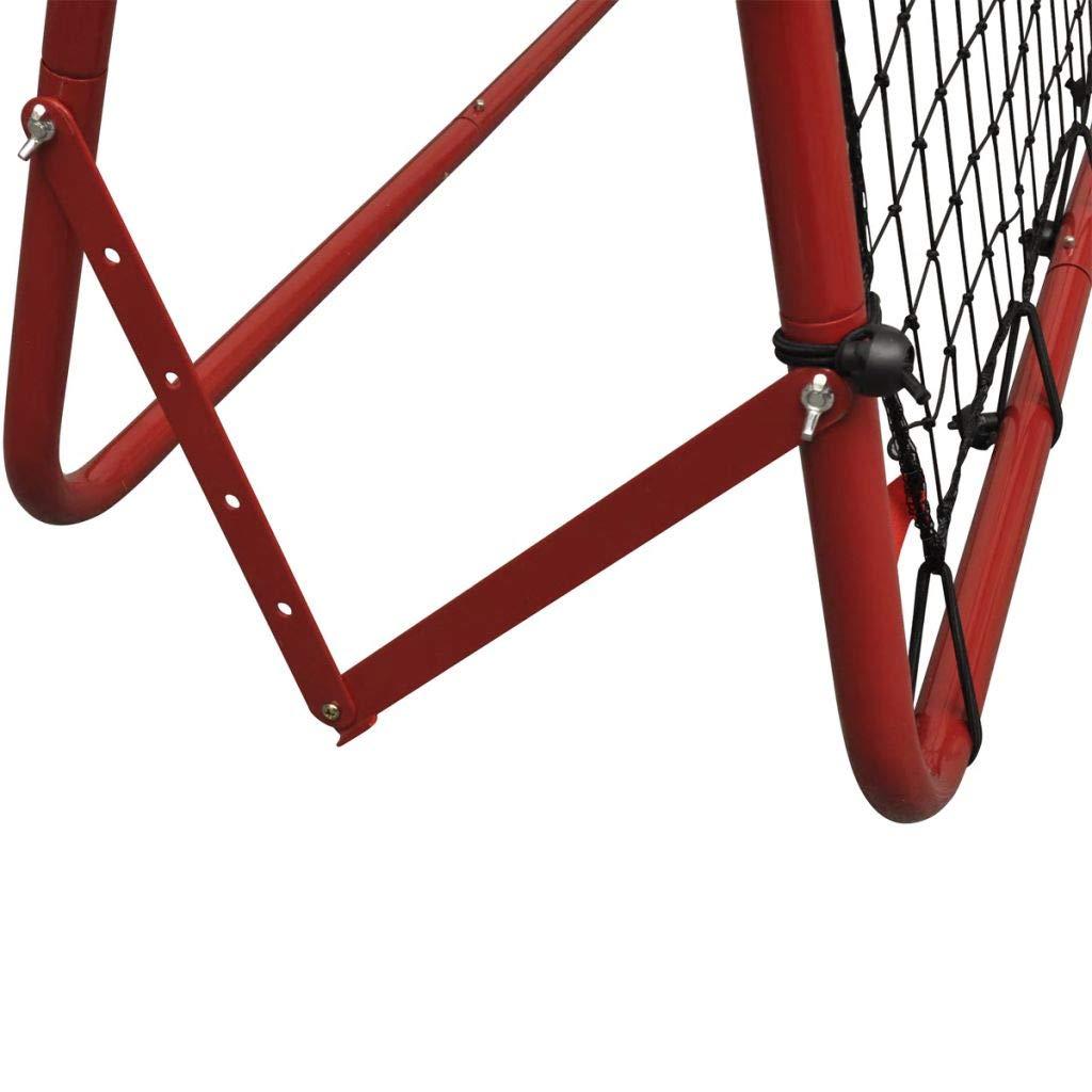 But de Football Filet de Rebond de Football Ajustable Pliable Cadre Rouge en Acier Enduit de Poudre 100 x 100 cm