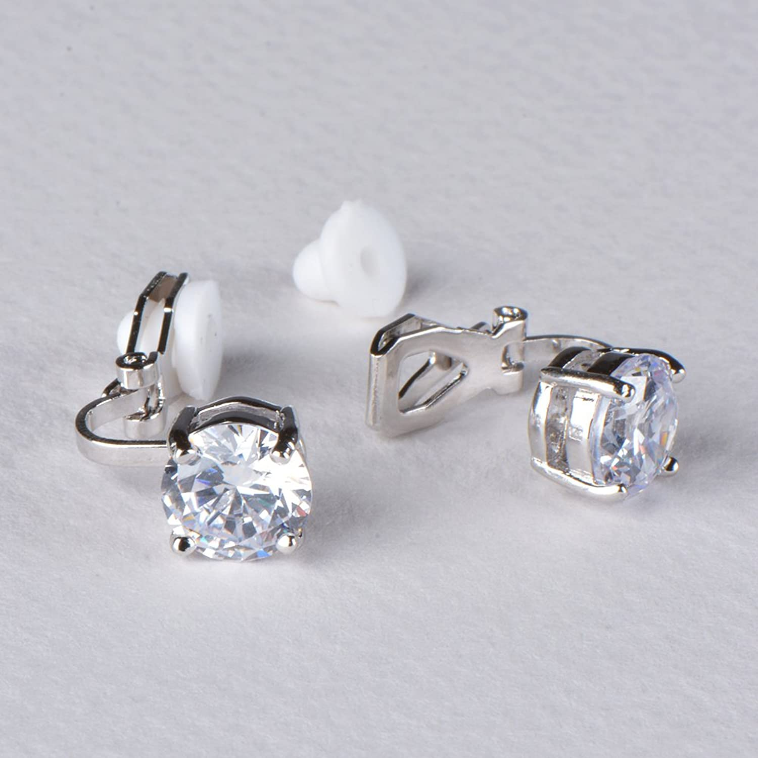 Amazon: Mariell Silver Platinumplated 2 Carat Cz Clipon Earrings   8mm Roundcut Solitaire Cubic Zirconia Studs: Jewelry