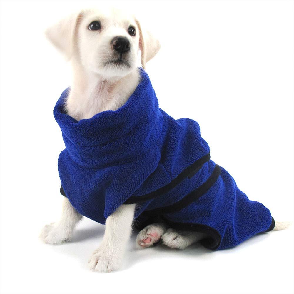 bluee Large bluee Large Lifeunion Pet Dog Microfiber Bathrobe Absorbent Rapid Dry Soft Pet Bath Towel Robe Wrap Pet Pajamas for Dogs Cats (Large, bluee)
