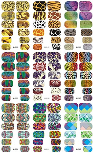 enForten 1 Sheet 9 Designs Water Transfer Decals Animal Print Leopard Tiger Snake Nail Wrap Full Nail Stickers Nail Tips Nail Art Decorations Tools DIY Beauty