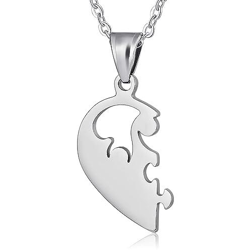 Beydodo Collar Colgante Corazón Rompecabezas Puzzle Hombre ...