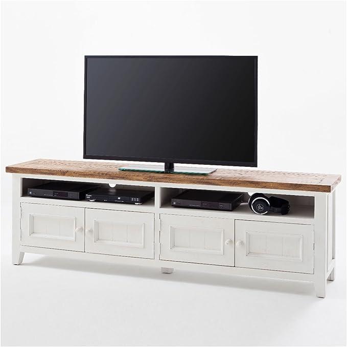 Mueble de TV Blanco Madera Byron estilo rústico Shabby Chic Vintage Muebles: Amazon.es: Electrónica