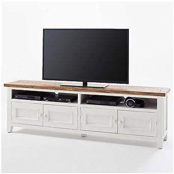 meuble tv bas byron en bois blanc style maison de campagne shabby chic vintage meubles