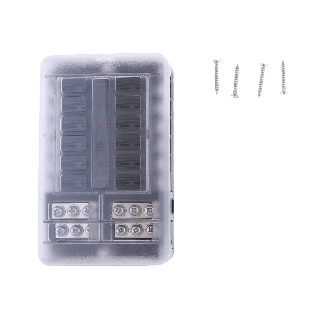 Baoblaze 12 Way Car Boat 12v Fuse Box Block Holder With Cover Led For A Indicators