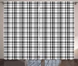 Ambesonne Plaid Curtains, Black and White Tartan Pattern Graphic Grid Art Design with Traditional Influences, Living Room Bedroom Window Drapes 2 Panel Set, 108 W X 63 L Inches, Black White For Sale