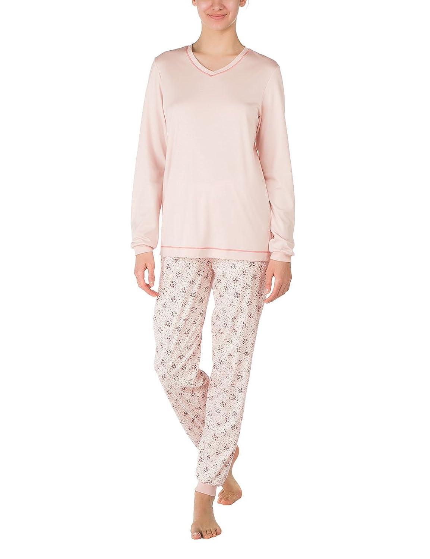 Calida Damen Zweiteiliger Schlafanzug Pyjama Bündchen Hollyrose