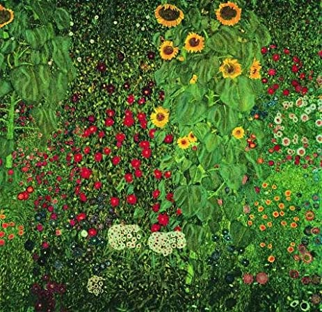 Bon U0027Gustav Klimt Farm Garden With Sunflowers,1912u0027 Oil Painting, 20x21 Inch
