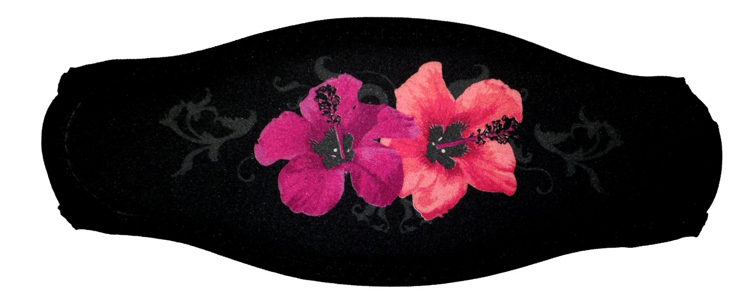 Black Strap Cover With Pink Hawaiian Flowers For Scuba Or Snorkel
