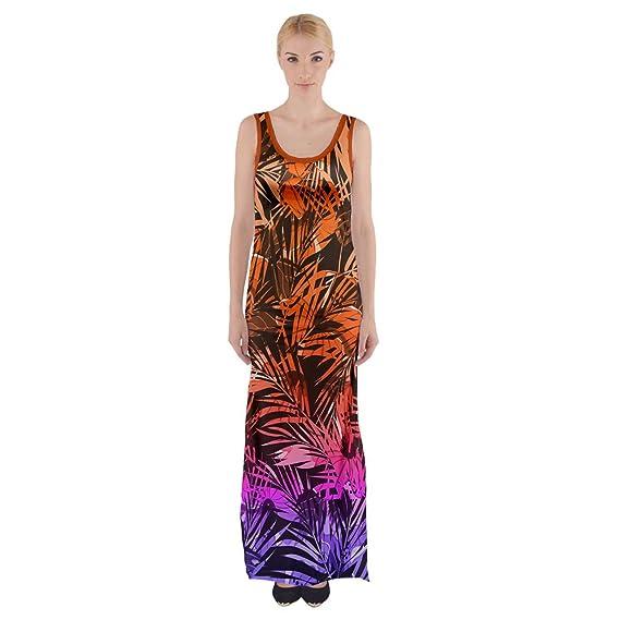PattyCandy Womens Orange and Purple Hawaii Maxi Thigh Split Dress - XS at Amazon Womens Clothing store: