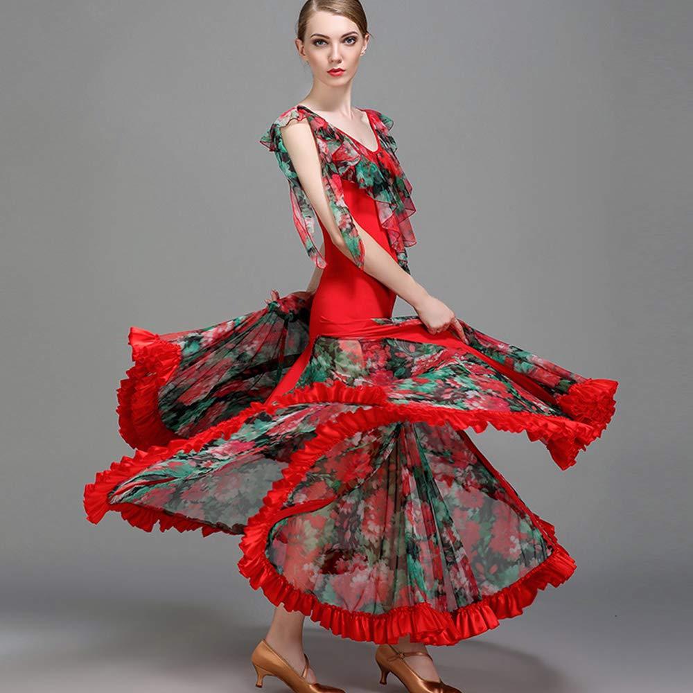 現代の女性の大きな振り子の氷のシルクの社交ダンスのドレスモダンなダンスドレスタンゴとワルツダンスドレスダンスコンペティションスカートドレス半袖ネット糸ダンスコスチューム B07HKG4M28 XL|Red Red XL