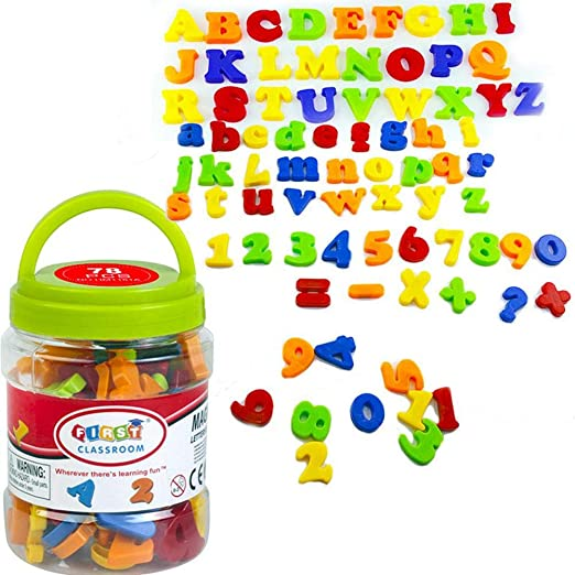 AOLVO 80 Pcs Letras Y Números Magnéticos para Niños - Mayúsculas ...