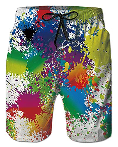 Mens Beach Shorts 3D Digital Print White Red Paint Tie-Dye Colorful Pattern Athletic Mesh Liner Sports Swimwear High Waist Spandex Compression Boardshorts Swim Trunks for Teen Boy Casual Home Outdoor - Pattern Digital