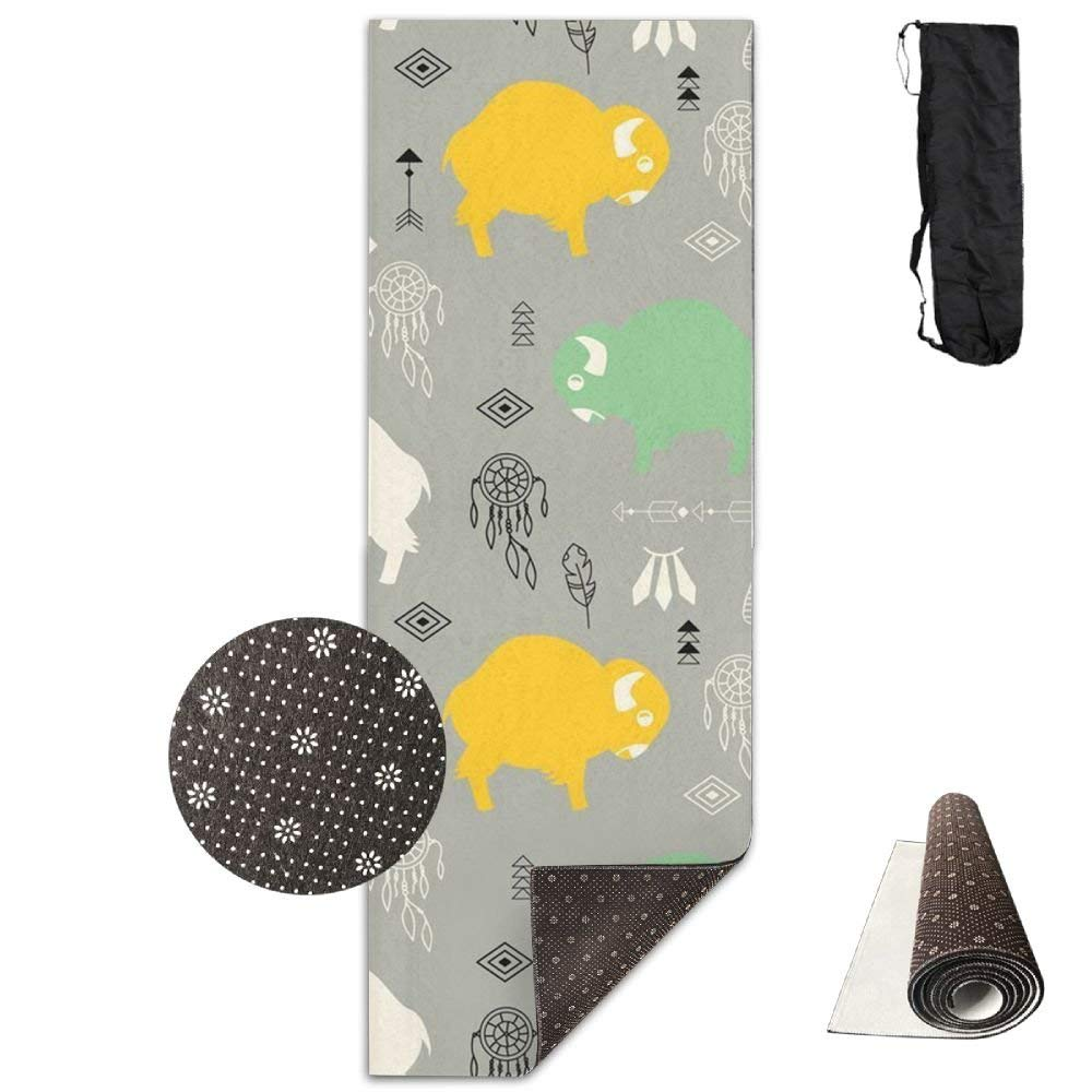 Cute Baby Buffaloes,Yoga Towel Exercise Mat Non-Slip High Density Waterproof Yoga Mats Fitness