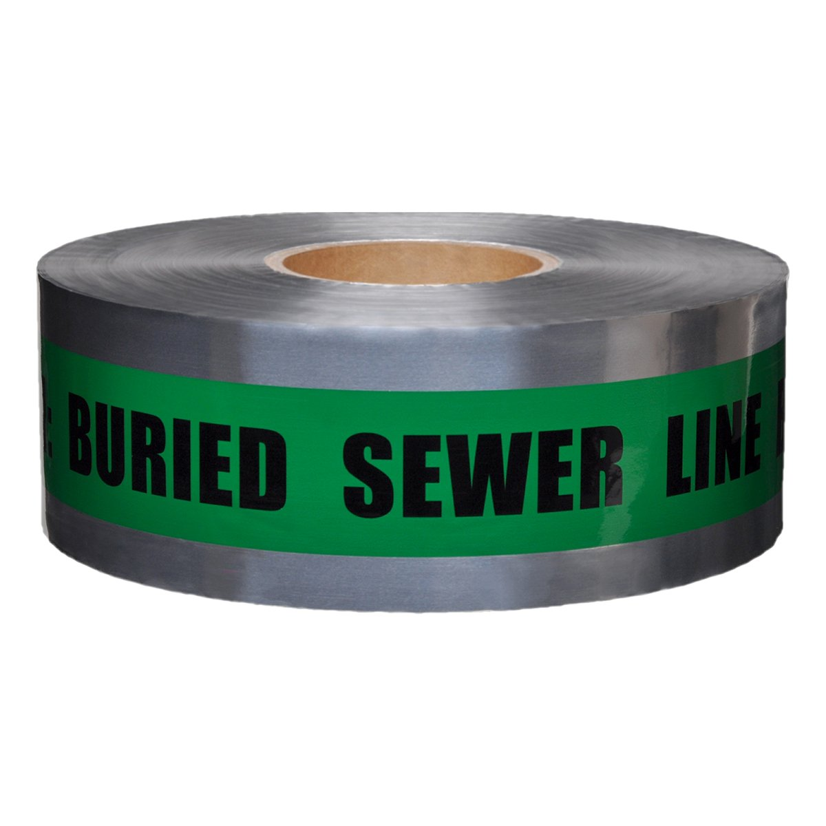 Presco Underground Detectable Warning Tape: 3 in. x 333.3 yds. (Green with Black''CAUTION BURIED SEWER LINE BELOW'' printing)