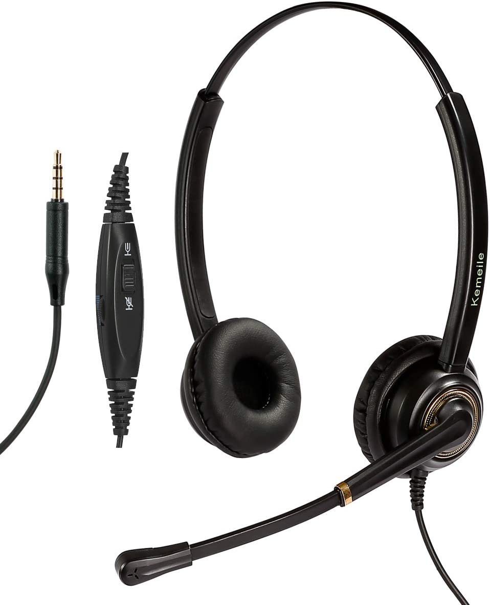3.5mm Cell Phone/Mobile Phone Headset with Noise Cancelling Mic for Apple iPhone Samsung Huawei HTC ZTE BlackBerry LG iPad Tablet Laptop Computer Mac and Most Other Android Smartphones