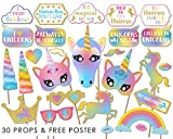 #3: Sparkling Unicorn Photo Booth Props - Rainbow Birthday Party Supplies Decorations