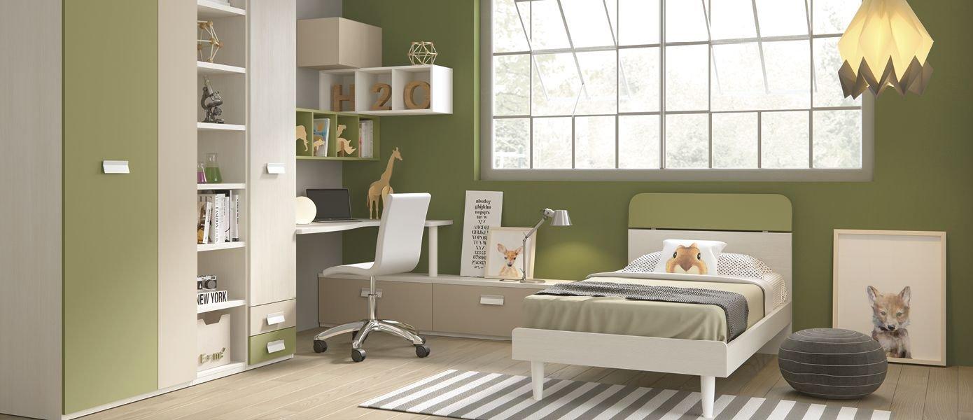 dafnedesign. com - Dormitorio completa para niño, colores Musgo, pardo, blanco, Alerce. Completa de color Armario - Encimera Escritorio ángulo - Silla ...