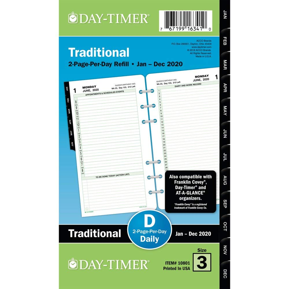 Day-Timer 2020 Daily Planner Refill, 3-3/4'' x 6-3/4'', Portable Size 3, Two Pages Per Day, Loose Leaf, Reference, Traditional (10801) by Day-Timer