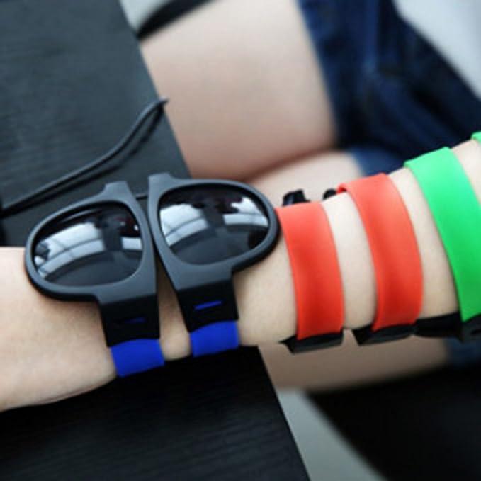 Yiwa moda unico unisex pieghevole da sole Wristband UV400Outdoor driving sport occhiali, Blue
