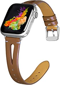 OULUCCI Leather Bands Compatible with Apple Watch 38mm 40mm, Slim Strap with Breathable Hole Replacement Wristband for Iwatch Series 5 4 3 2 1