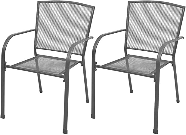 Set of 2 Garden Bistro Chairs Tidyard Outdoor Patio Dining Chairs