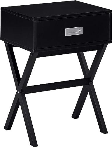 Amazon Brand Ravenna Home Priscilla Modern X-Frame End Table Nightstand, 18.9 W, Black