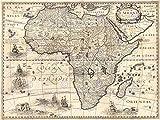 MAP ANTIQUE CONTINENTAL AFRICA BERTIUS 30X40 CMS FINE ART PRINT POSTER BB8163