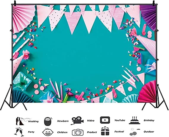 7x10 FT Retro Vinyl Photography Backdrop,Cheerful Hipster Pattern with Old Analogue Photo Cameras Doodle Style Film Equipment Background for Baby Birthday Party Wedding Graduation Home Decoration
