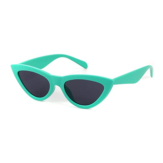 7d8e7666497 Retro Vintage Cat Eye Glasses Women Oversized Triangle Sunglasses Candy  Color (Green Grey