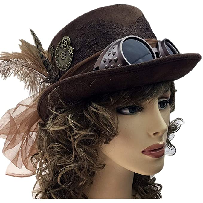 Storm Buy   Steampunk Women Top Hat Mad Scientist Time Traveler Feather  Halloween Costume Cosplay Party 4eedbb14320