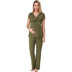 9c43fc867a958 Zexxxy Women Ultra Soft Maternity & Nursing Pajama Set Pregnancy Sleepwear  ZE0045
