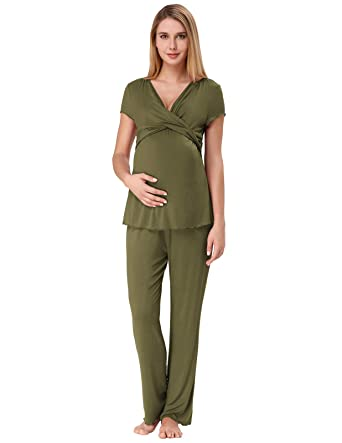 7cad89b4047d7 Pajamas for Women Summer Short Sleeve Sleepwear Modal Nightwear S Army Green
