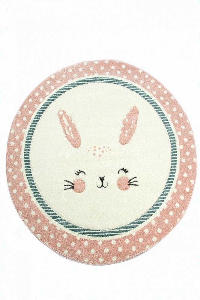 Kinderteppich Kinderzimmerteppich Babyteppich rund Hase in Rosa Weiss Türkis Größe 160 cm Rund