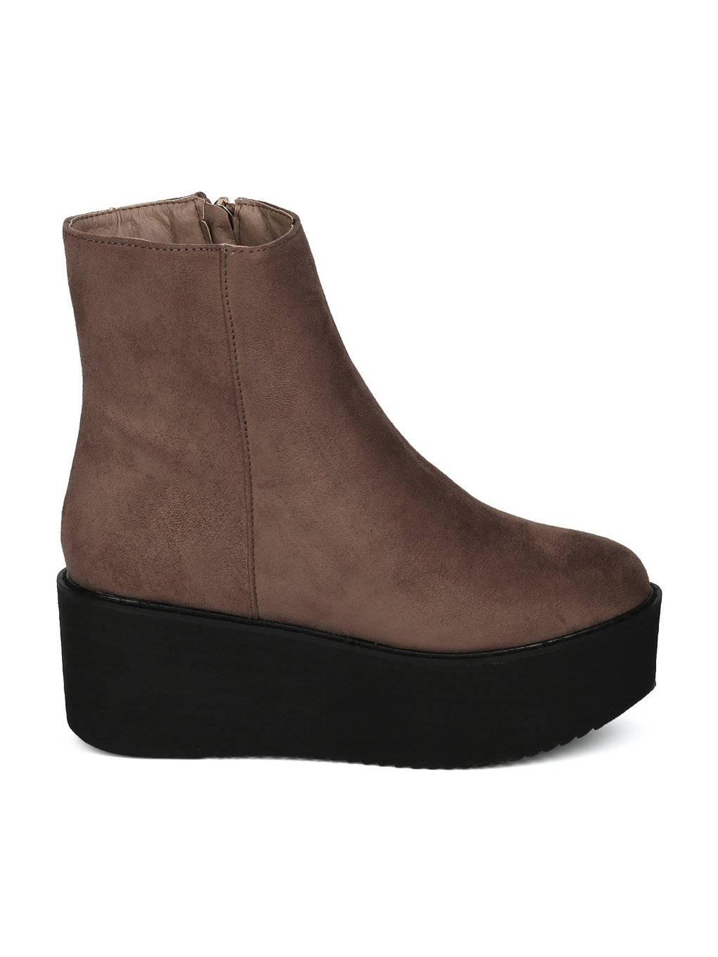 Indulge Hebe-I Women Round Toe Platform Creeper Ankle Bootie HE66 - Taupe Faux Suede (Size: 7.0) by Indulge (Image #1)
