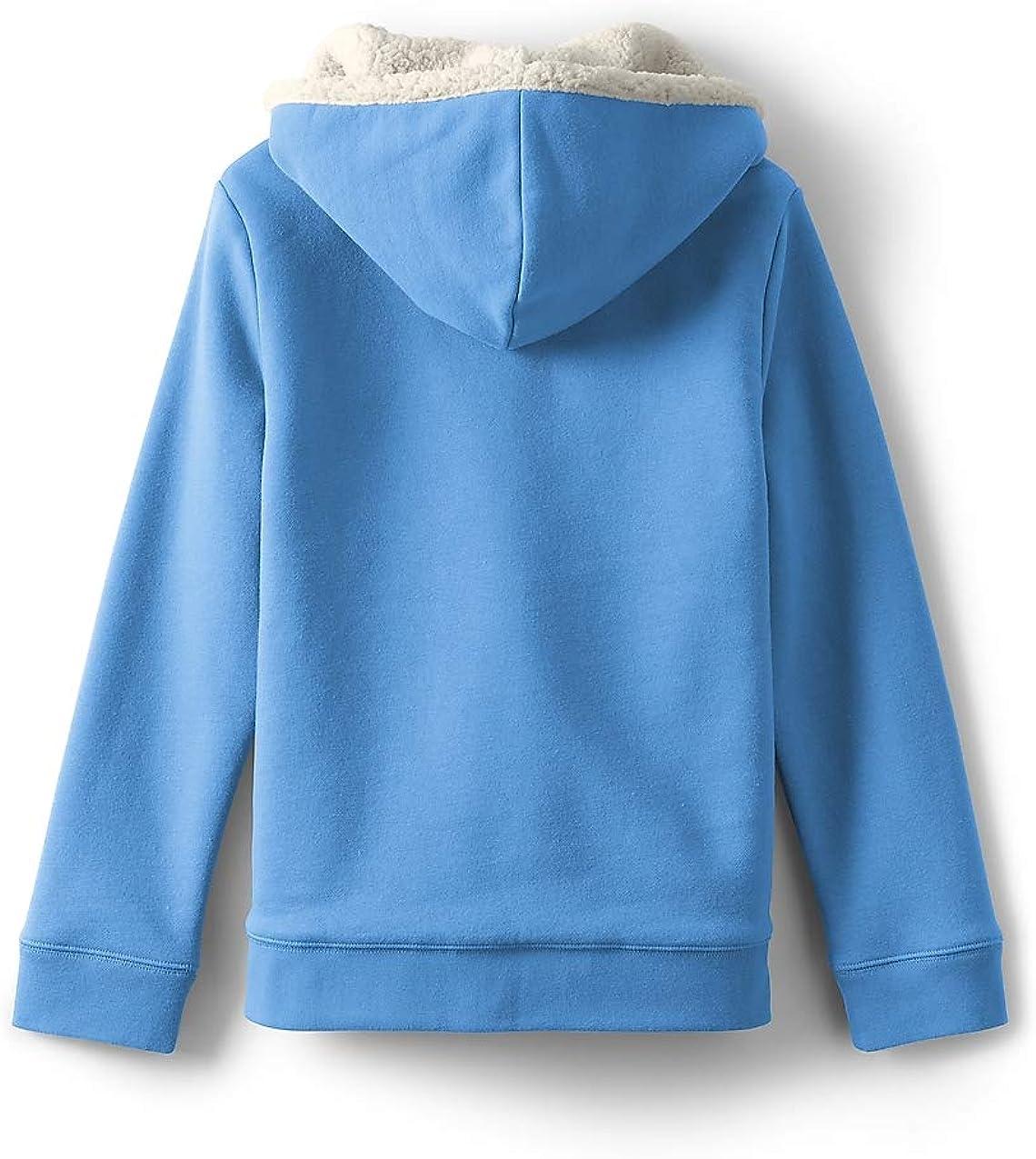 Lands End Little Girls Sherpa Lined Hoodie Azure Blue S
