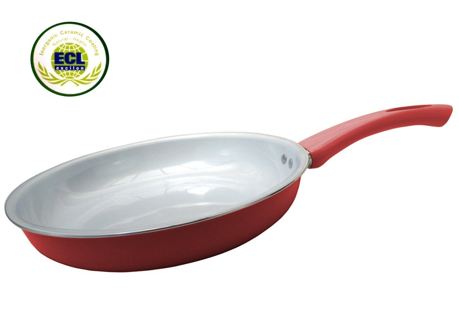 Royal Organic Red 8'' Ceramic Non-Stick Coating Fry Pan Stay Cool Handle