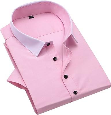 XIONG12 - Camisa formal - Button Down - para hombre rosa rosa ...