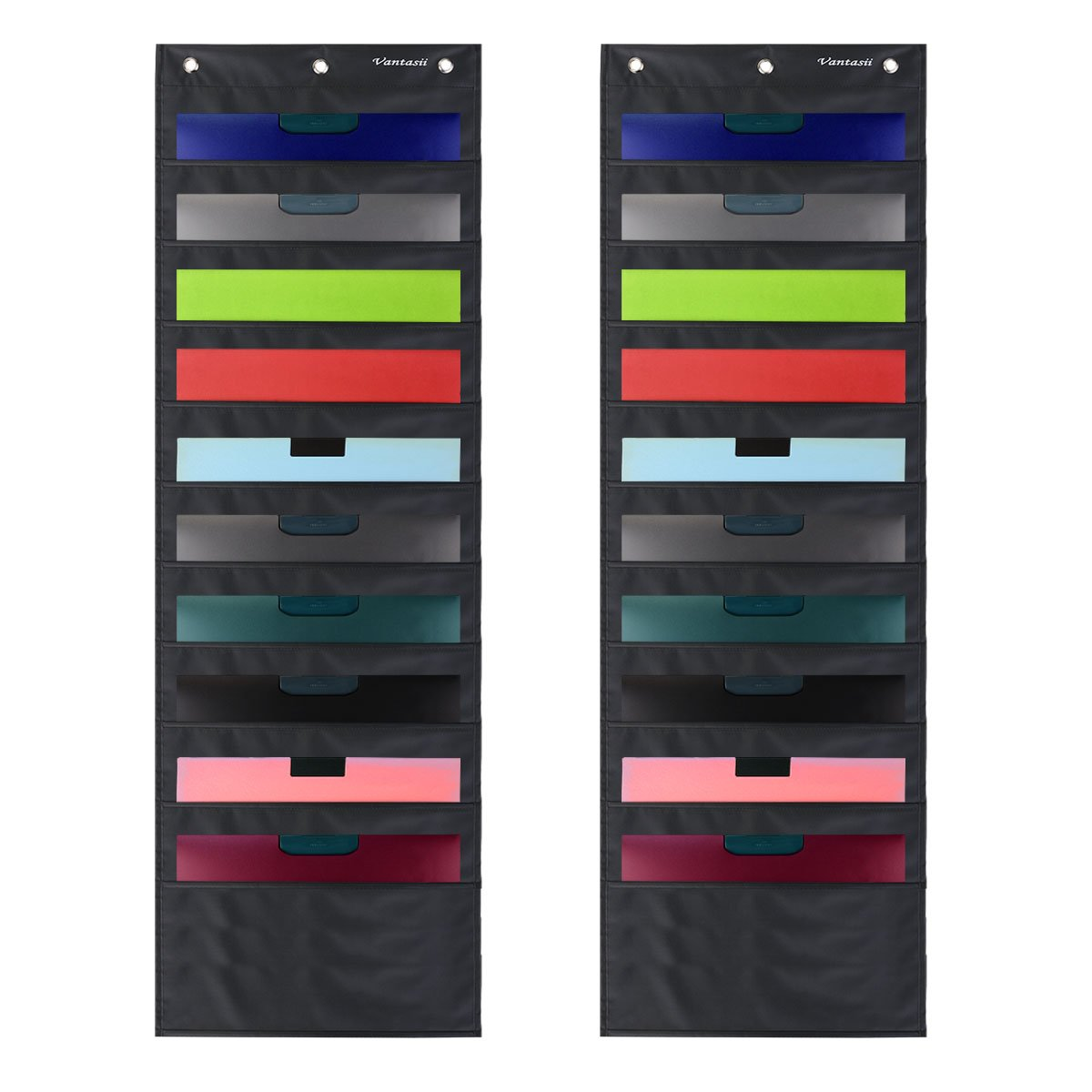 2 Pack Storage Pocket Chart, Wall hanging File Organizer Folder with 10 large Pockets for Office, Home, School, Studio, etc. 14 X 47 inch, BLACK, Mountings included.