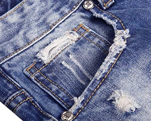 Alsbild Slim Semplice Da Moda In Strappati Stile Stretch Distrutti Uomo Jeans Denim Fit Pantaloni Vintage IYRxc6f