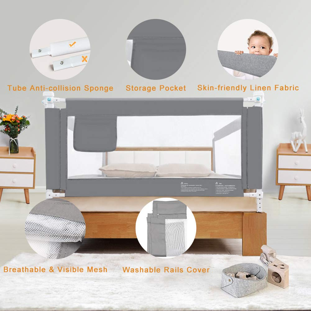 Height Adjustable Vertical Lifting Safety Rail for Kids Twin Full Size Queen /& King Mattress Double Extra Long Bed Guard Rails for Toddlers Children PYD Toddler Bed Rails